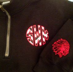 Monogrammed 1/4 zip with Jackson Indian logo                 www.facebook.com/TNTembroidery