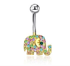 Cute Elephant Rhinestone Body Piercing Belly Button Rings