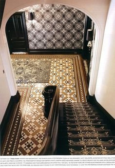 Check out all these cool patterned Moroccan-style tiles.  Love them all mixed together!