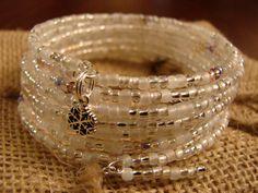 Snowdrift: 10-Coil Memory Wire Bracelet by JewelryByFredda on Etsy