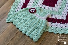 Shell Brook Infant Dress and coordinating Afghan #crochet #pattern by Crafting Friends Designs