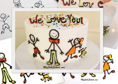 Such a cute cake with stick figure decorations.