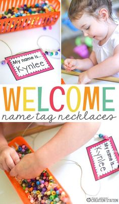 Welcome Name Tag Necklace Activity for the First Day of School Grab these free editable name tags for the beginning of the school year for preschool, prek, kindergarten and first grade. Preschool First Week, Welcome To Preschool, September Preschool, Preschool Names, First Day Of School Activities, First Day School, Pre K Activities, Kindergarten First Day, Beginning Of The School Year