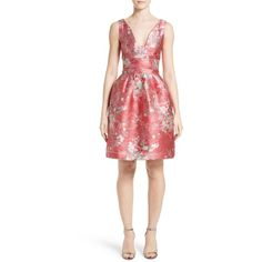 Women's Carolina Herrera Floral Jacquard Cocktail Dress ($2,790) ❤ liked on Polyvore featuring dresses, red multi, floral print cocktail dress, jacquard dress, floral print dress, floral dresses and red dress