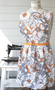 Frances Apron  Orange and Grey Floral  by SugarSpiceandNutmeg, $28.00