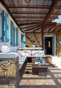 Mediterranean Garden Design turquoise shutters white pillow