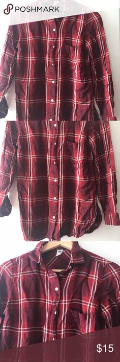 Old Navy Classic Plaid Soft Shirt for Women Maroon plaid button down shirt. Very cozy. Wear with your favorite leggings or jeans. Machine wash. 100% rayon. Old Navy Tops Button Down Shirts