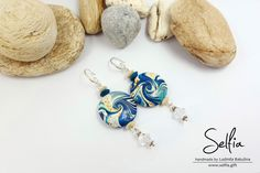 "Earrings ""The Marine Style"" - made from Polymer Clay! Earrings include crystals Swarovski! by SweetyBijou on Etsy"