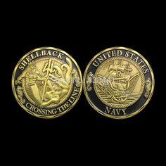 free shipping U.S navy Shellback crossing the line American Navy US challenge coin with black printed,Commemorative Coin GIFT