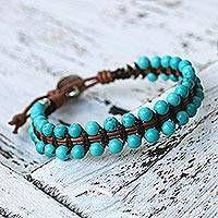 Beaded leather bracelet, 'Peaceful Turquoise' Artisan Crafted Recon Turquoise and Leather Bracelet Leather Jewelry, Wire Jewelry, Beaded Jewelry, Handmade Jewelry, Bullet Jewelry, Leather Bracelets, Leather Cuffs, Silver Jewelry, Beaded Wrap Bracelets