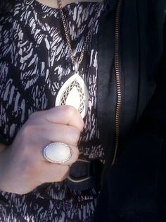 White and Gold pendant and ring combo