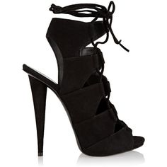 Giuseppe Zanotti Lace-up suede sandals ($392) ❤ liked on Polyvore featuring shoes, sandals, heels, black, heeled sandals, suede sandals, black shoes, high heel shoes and black high heel sandals