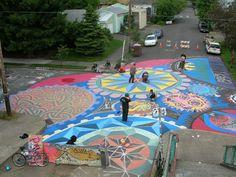 street mural - sidewalk chalk - mandalas, kaleidoscope, circles
