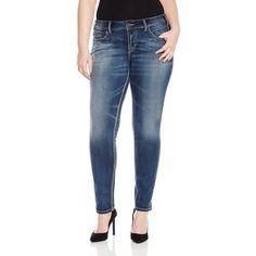Silver Jeans Women's Plus Size Elyse Mid Rise Bootcut Jean, Dark ...