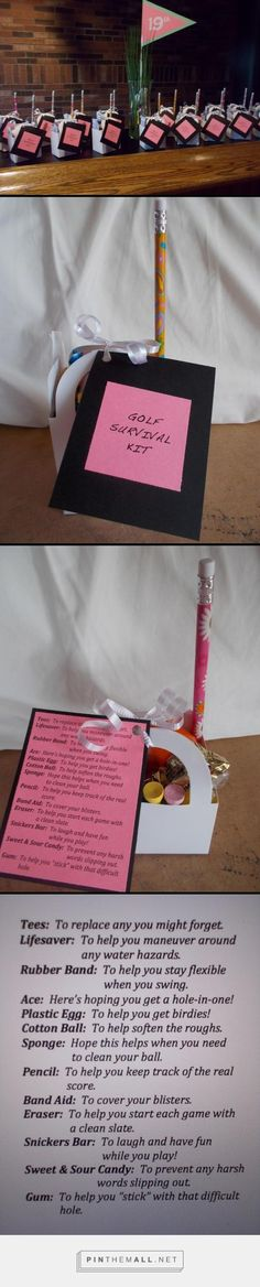 GOLF SURVIVAL KIT - Made these for our Ladies Night League closing! (and the centerpiece too)... - a grouped images picture - Pin Them All