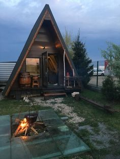 A Frame House Plans, A Frame Cabin, Cozy Cabin, Cozy Cottage, Cabins In The Woods, House In The Woods, Going Up The Country, Prefab Cabins, Cottage House Plans