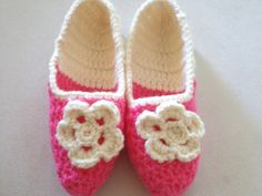Adult Wool Crochet Slippers Thick Simply slippers by BloomedFlower, $22.00