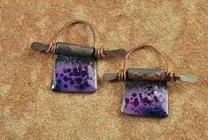 Enameled Copper Charms, Earring Beads,  Enamel Components, Rustic Purple #355 by CC Design
