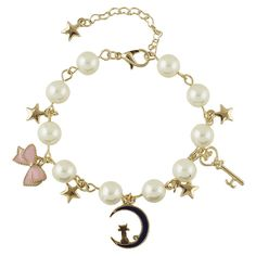 Artificial Pearl Moon Kitten Star Chain Bracelet Golden (365 ZAR) ❤ liked on Polyvore featuring jewelry, bracelets, imitation jewelry, fake pearl jewelry, golden jewellery, pearl jewelry and golden jewelry