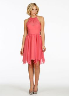 Bridesmaids and Special Occasion Dresses by Jim Hjelm Occasions - Style jh5405......Melon chiffon over Tangerine lining A-line bridesmaid dress, racer neckline, gathered skirt at natural waist, hankerchief hem.