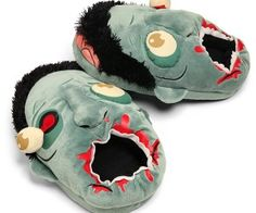 Plush Zombie Slippers ($36.28) : Show your love or hate for zombies by walking around in their gored heads for your personal zombie slippers