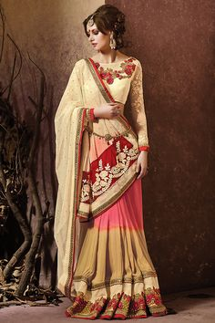 Pink and Cream Heavy Embroidered Bridal Saree