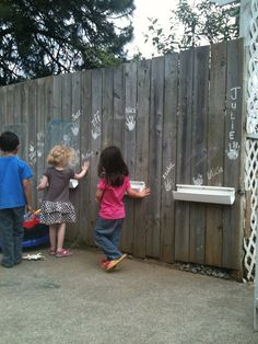 This is how I did it in our play yard, pexiglass (mine is one long piece of glass) and rain gutter tray Outdoor Learning Spaces, Kids Outdoor Play, Outdoor Fun, Outdoor Ideas, Preschool Playground, Backyard Playground, Playground Ideas, Cool Playgrounds, Natural Playground