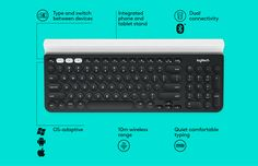 The K780 Multi-Device is a wireless computer keyboard with numbers pad, which also works perfectly with smartphones and tablets.Switching easily between all the devices you enter text on. Works with PC, Mac, Chrome OS, Android and iOS.The Rubber cradl…