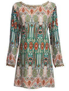 Ethnic Style Round Collar Tribal Print Tassel Dress
