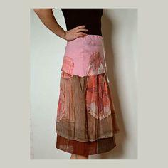 Women's skirt hand-painted  silk of skirt linen artsy