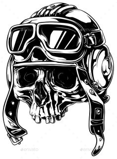 Buy Graphic Detailed Old Skull in Retro Pilot Helmet by GB_Art on GraphicRiver. A vector illustration of Graphic detailed old human skull in retro pilot helmet Tattoo Illustration, Ink Illustrations, Tattoo Grafik, Helmet Tattoo, Skull Helmet, Desenho Tattoo, Tatoo Art, Motorcycle Art, Skull Tattoos