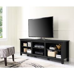 "70"" Essentials TV Stand - Black - 17639199 - Overstock.com Shopping - Great Deals on Entertainment Centers"