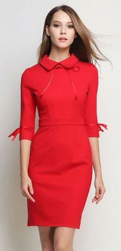 Red Peter Pan Collar Dress , with shorther sleeves Supernatural Style Plus Size Dresses, Short Dresses, Dresses For Work, Modest Fashion, Fashion Dresses, Dress P, Bodycon Dress, Fashion Moda, Womens Fashion