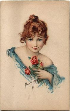 head & shoulders study of girl in blue, red hair, left hand holds red roses to chest - TuckDB