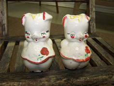 Rare Salt And Pepper Shakers | Vintage Pig Salt and Pepper Shakers by Dallas2Denver on Etsy