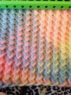 loom knitting baby blanket my new hobby Loom Knitting Blanket, Loom Knitting Stitches, Spool Knitting, Knifty Knitter, Loom Knitting Projects, Baby Knitting, Loom Blanket, Knitting Ideas, Round Loom Knitting