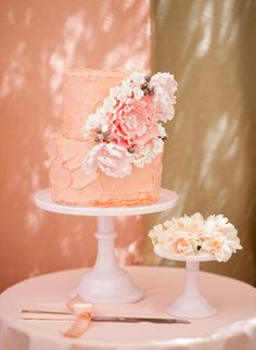 Peach Wedding Cake- This soft hue looks beautiful when incorporated into a romantic wedding cake like this one.