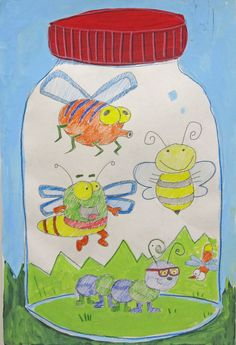Bugs in a Jar - color pencil bugs, the rest is tempera paint. You can see more of my clay and painting lessons at www.johnpost.us/