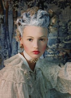 AR: this reminds me more of the later 18th century, since her hair is much more subdued and it looks like she's just in her chemise. | Mona Johanneson by Juan Gatti