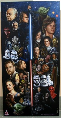 This is a large 36 x 18 inch oil painting featurung 54 Star Wars characters from both Trilogies set up with the light sabers framing the different trilo. Star Wars IS Forever Star Wars Logos, Star Wars Tattoo, Star Wars Poster, Star Wars Fan Art, Star Wars Jedi, Star Trek, Amour Star Wars, Images Star Wars, Cuadros Star Wars