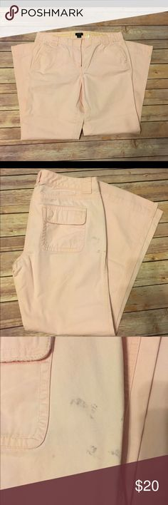 J Crew City Fit Pants These light pink J Crew City Fit pants were some of my favorite! Super comfortable yet look professional! There is some kind of stain? on the back - I haven't even tried to get it out so it may come right out! UPDATE: The stain came mostly out - almost completely!! J. Crew Pants Trousers
