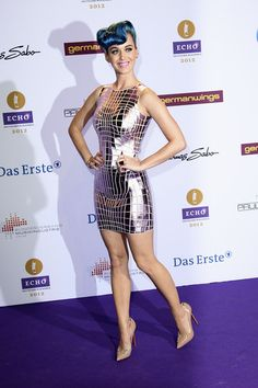 Katy Perry channeled an '80s Barbie in this metallic mini at the Echo Awards.