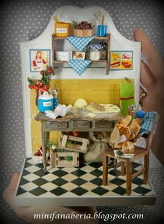 Handmade bookend with a kitchen scene in vintage style - one inch scale (1:12)