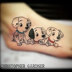 Cute little Dalmatian puppies done by @cgtattoo1987 #inkeddisney