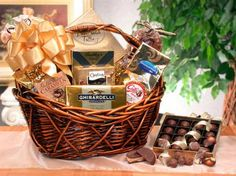 Chocolate Gourmet = The Chocolate Gourmet gift basket sends your good wishes in a way anyone would love! Chocolate is the perfect gift for any occasion, so whether you need to make amends, make friends, or say I love you, do it with the Chocolate Gourmet gift basket!