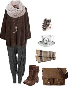 Cozy w/ baggy pants by shortcuttothestars featuring a porcelain saucerH M dolman sleeve top, $57 / Harem pants, $59 / Charlotte Russe brown military boots / Canvas courier bag / Silver owl jewelry / Pamela Love silver layered necklace, $525 / Humble Chic cable knit shawl / NIC ZOE cotton fingerless glove / Miss Blackbirdy porcelain saucer
