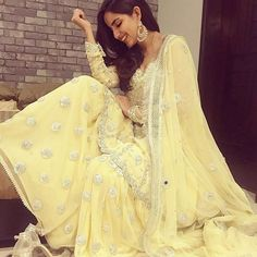 Zainab Chottani lemon yellow gharara