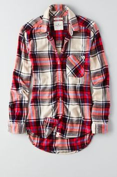AEO Canyon Boyfriend Flannel , Cream | American Eagle Outfitters