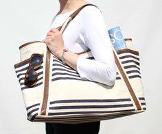 Strandtasche riesig gestreift Lederhenkel originelles Design