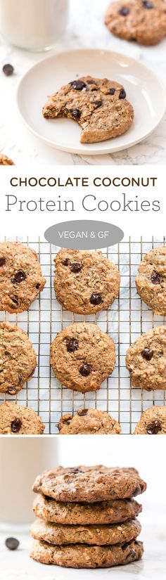 These Chocolate Coconut Protein Cookies are a healthy, nutritious way to satisfy that sweet tooth. Naturally GF & VEGAN + full of healthy fats and fiber too! #highprotein #vegangf #healthycookies #simplyquinoa